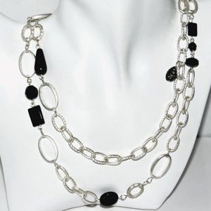 Gay Isber Necklace Black Swarovski Silver Chain